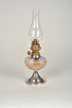 Unique antique oil lamp on silver (925) foot, Netherlands/Belgium, 19th century