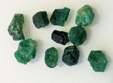 Lot of natural rough emeralds - 20.63ct (10)