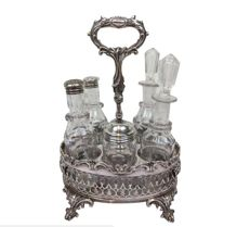 Cruet set in silver plated stand with ornate legs - England - Ca. 1900