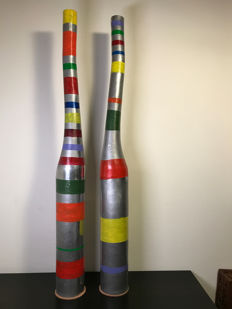 Set of two exceptionally long modern vases of aluminium -from the 70s
