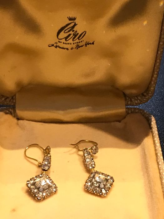 1930's boxed Ciro London New York gold paste diamond earrings  fully stamped