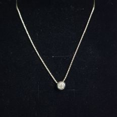 Solitaire pendant in 18 kt white gold with 0.10 ct diamond - Chain 42.5 cm
