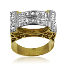 18kt gold Men's ring with 0,60ct Diamonds - size 59