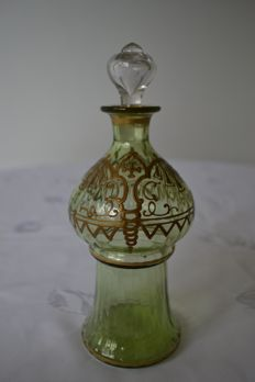 Religious Crystal bottle hand painted and enhanced with gold - Russia - 1910