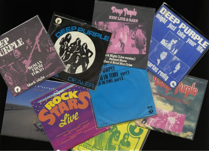 Lot of 9 picture sleeve singles by British hard rock band Deep Purple incl. Black Night, Hush, Might just take your life, Child in time and more