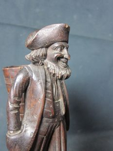 Black Forest - finely carved wooden nobleman / cigar display - circa 1900