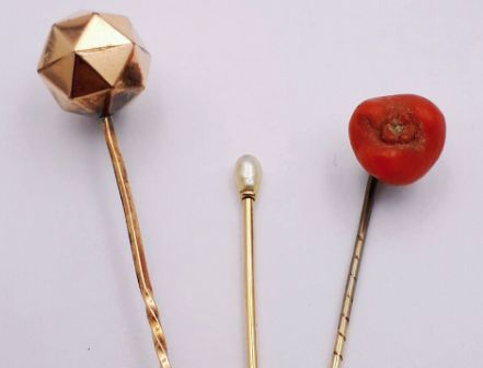 18 Ct Gold Vintage Tie Pin Collection, 3 Pins, *** No Reserve ***