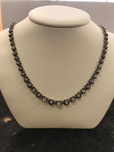 Silver diamond necklace from the 20th century with diamonds of 2.90 ct