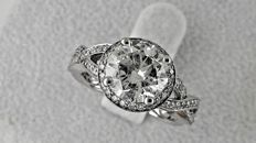 2.71 Ct round diamond ring made of 14 kt white gold - size 7