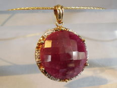 Large 25 ct natural ruby pendant on Omega necklace