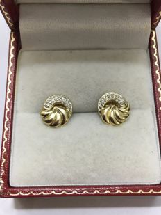 14 kt 585 yellow gold fantasy ear studs with brilliant cut diamonds in white gold setting