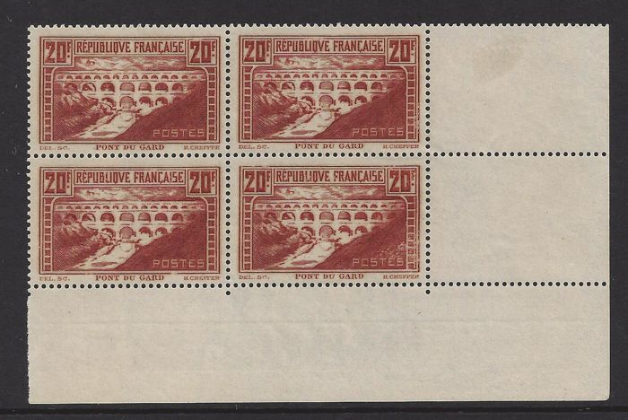France 1929 - Monuments and sites - Yvert 262 in block of four