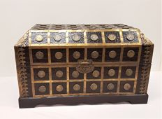 Wooden storage chest with leather and copper fittings, second half of the 20th century, Netherlands