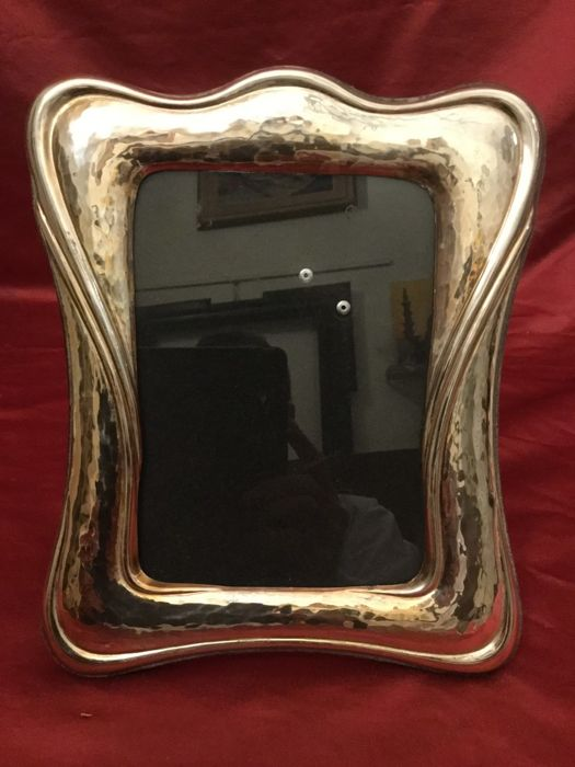 Art Nouveau silver photo frame, title 925/1000, Italy, 20th century