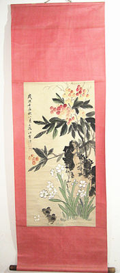 Hand-painted scroll painting 《江寒汀- 花鸟》- China - late 20th century