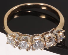"14 kt gold ring set with 1.00 ct of brilliant cut diamonds, W-P1 – Ring size:  57 – 2.98 g – ""No Reserve"""