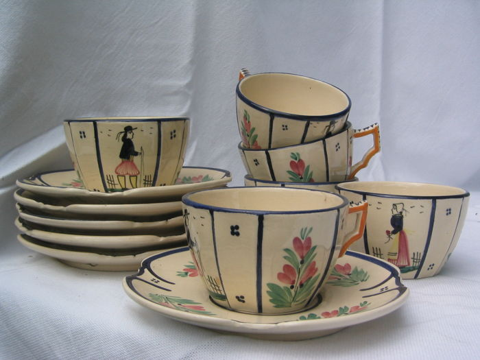 Faïence Quimper, 6 x cup and saucer