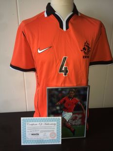 Frank de Boer - WORLD CUP 1998 home shirt + original autographed framed action photo + COA.