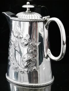 Impressive Silver Plated Hot Water Pot, English c.1890