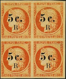 France 1885-1886 - General colonies - Reunion Island, Ceres with 5 C.R overprint block of 4 - Yvert no 6a.