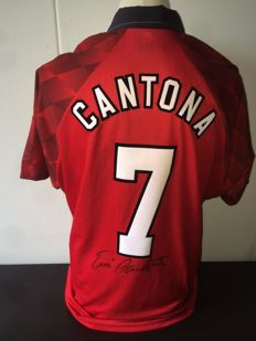 Eric Cantona - Manchester United signed home shirt 'Old Trafford' '90's + COA inc Photoproof.