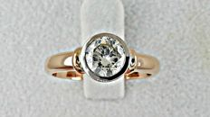1.01 round diamond ring made of 18 kt rose/white gold +++ NO RESERVE PRICE +++