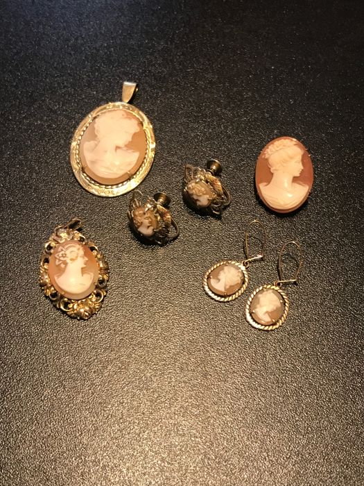 Collection of early vintage Cameo, shell brooches