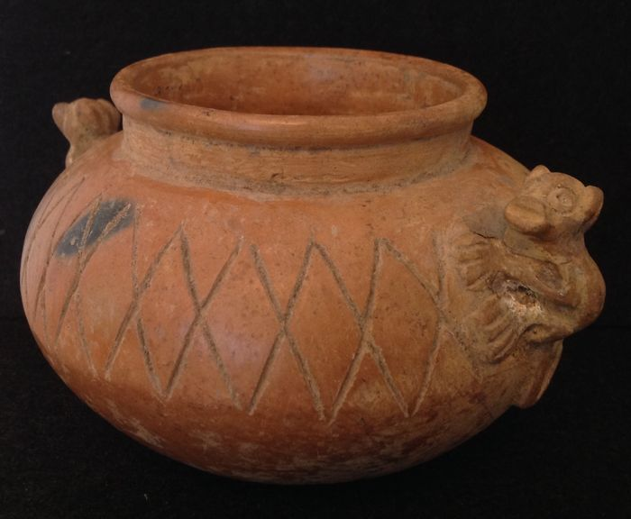 Pre-Columbian Sinu culture pottery bowl with two monkeys - Colombia - 17 cm