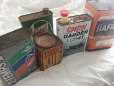 Broth kub, Castrol, Total, Hafa old oil cans