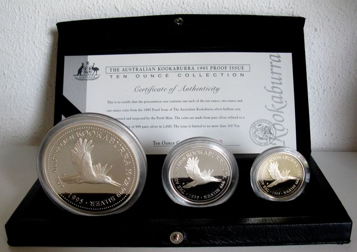 "Australia – 1, 2 and 10 dollar ""Kookaburra 1995 Proof Issue 10 oz Collection"" – silver"