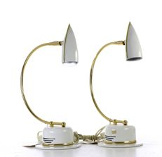 Pair of metal structure lamps with golden rod.