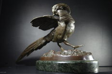 Art nouveau bronze pheasant - France - 20th century