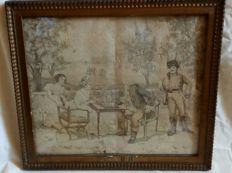 Hand woven picture from the early 1900 - with plaster frame - first half of the 1900 - Italy