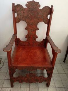 Painted wooden armchair - Italy - circa 1890