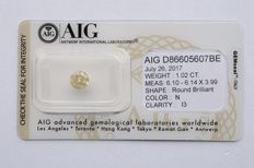 1.02 carats round brilliant natural diamond N - P3 NO RESERVE