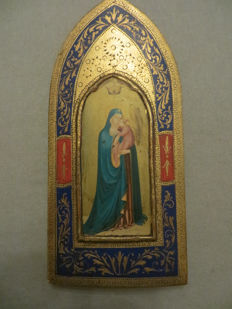 Icon on painted wooden base