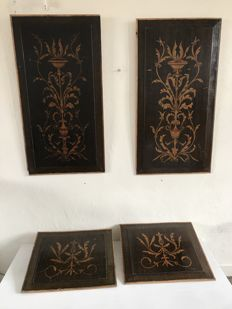 Four oak panels painted in the style of Louis XIV - framed - France - 19th century