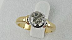 1.02 ct VS2 round diamond ring made of 18 kt  yellow/white gold +++ NO RESERVE PRICE +++