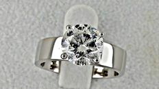 2.07 ct   round diamond ring 18 kt gold - size 7