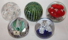 Lot of 5 glass paperweights