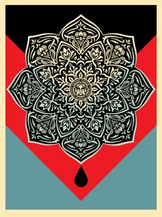 Shepard Fairey (OBEY) - Blood & Oil Mandala : Oil Drop Edition (+ 5 original stickers)
