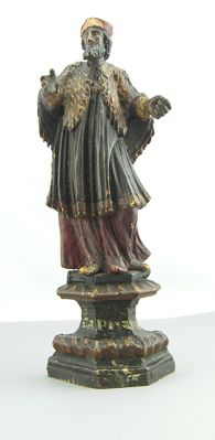 Antique polychrome wooden sculpture depicting Saint Adam the Abbot - 18th/19th century