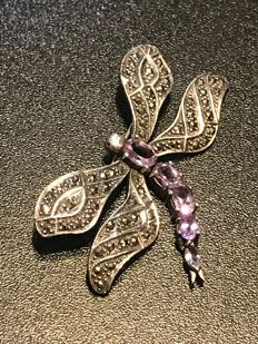 Articulated hinged silver Amethyst set dragonfly brooch