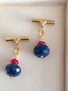 Vintage Gilt carved Indian Sapphire  & Ruby men's cuff links ca. 1970