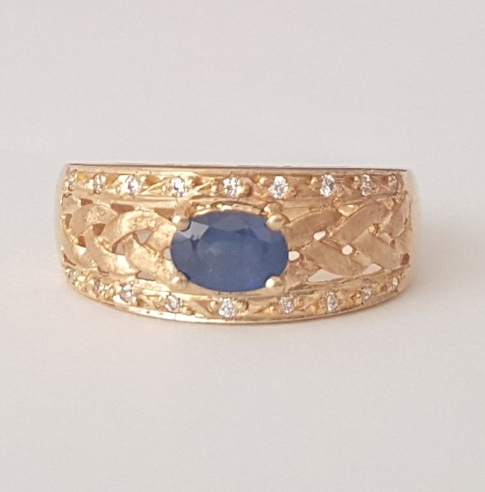 18 kt - Braided ring in yellow gold with a sapphire - Size: 17.2 mm 14/54 (EU)