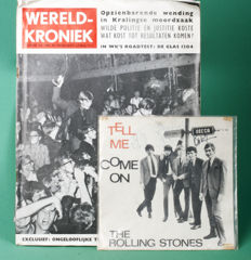 A lot from the Rolling Stones, Kurhaus, The Hague, 1964. Signed with original autographs on 45t sleeve & much more.