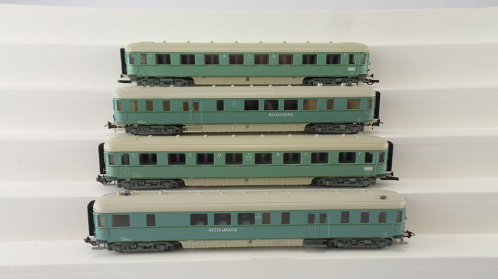 "Roco H0 - 44283/44290 - 4 Express train passenger and dining carriages 1st/2nd class ""Plan-D"" of the NS, in turquoise livery"