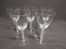 Lalique Crystal - 5 Phalsbourg Claret wine glasses