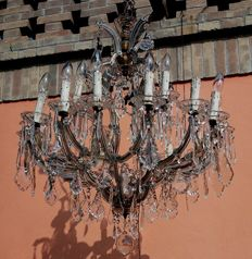 Bohemian crystal glass chandelier - Maria Theresa style - early 20th century