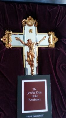Jewel of the renaissance cross, 28 cm, 24 carat gold-plated, certificate of authenticity